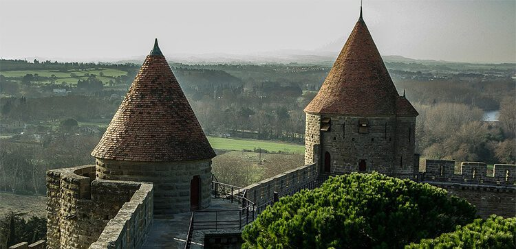 castle towers in Carcassone France