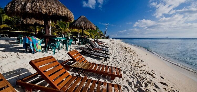 Relaxing retirement along a white sand beach in Mexico
