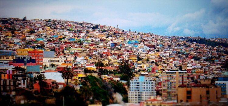 Colorful properties on a hill in Chile.